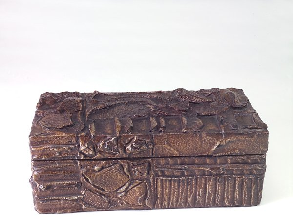 722: PAUL EVANS Sculpted Bronze jewelry box with red ve