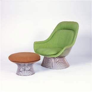 WARREN PLATNER/KNOLL Lounge chair and ottoman, the