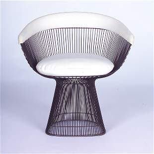 WARREN PLATNER/KNOLL Side chair with white vinyl u