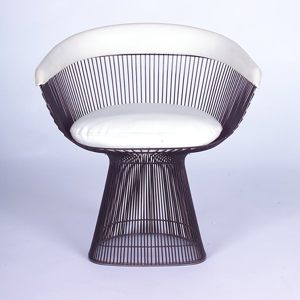 727: WARREN PLATNER/KNOLL Side chair with white vinyl u