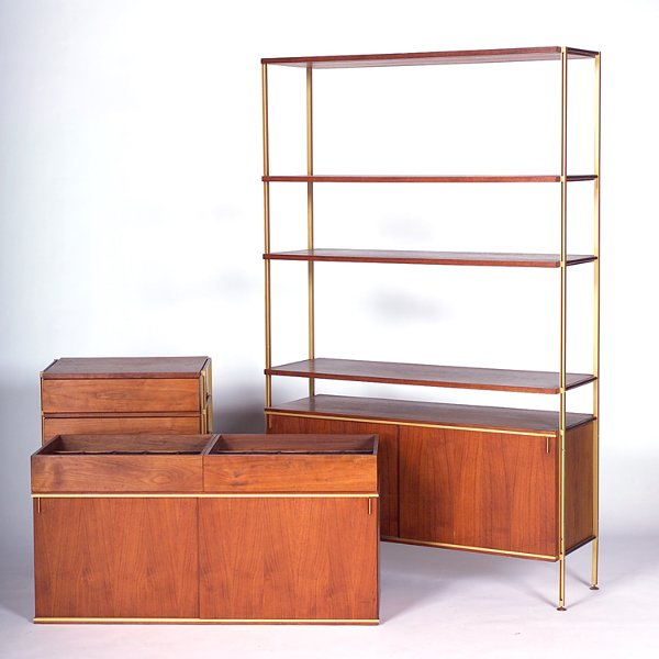 969: HUGH ACTON Walnut and brushed brass wall unit cons