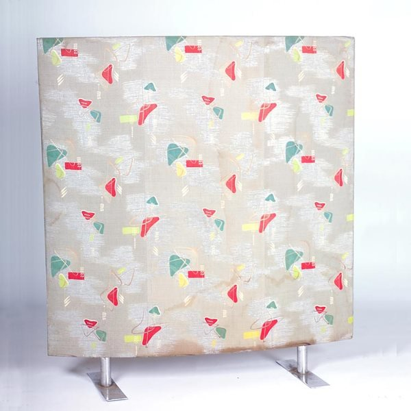 1145: 1950s MODERN Upholstered screen covered with 1950