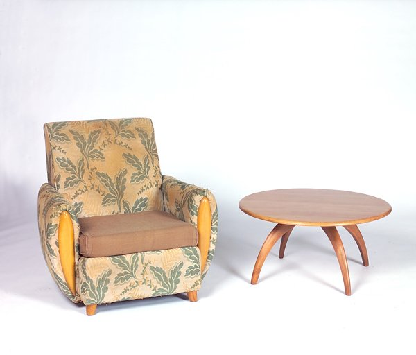 1202: HEYWOOD WAKEFIELD Two pieces: a fabric-upholstere
