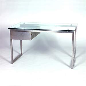 1204: MARIA PERGAY (Attr.) Brushed chrome desk with rec