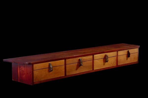 1: GEORGE NAKASHIMA Eight-drawer  walnut wall-hanging