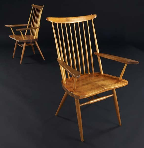 7: GEORGE NAKASHIMA Pair of walnut New Chairs with Arms