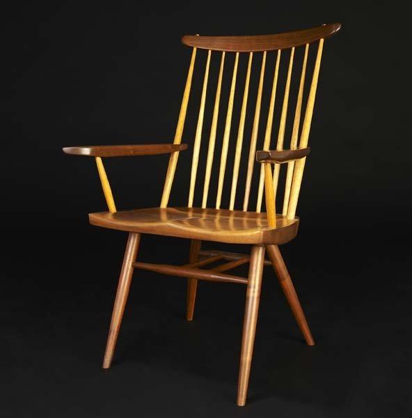 8: GEORGE NAKASHIMA Walnut New Chair with Arms, 1970. (
