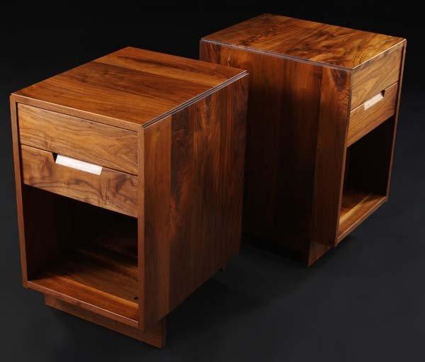 10A: GEORGE NAKASHIMA Pair of walnut two-drawer nightst