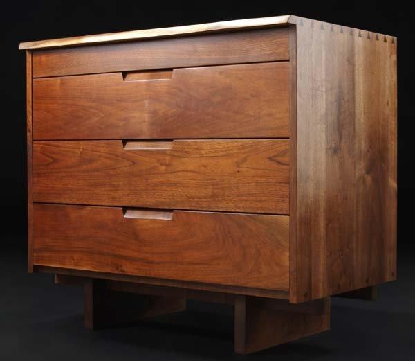 10B: GEORGE NAKASHIMA Walnut four-drawer dresser with f