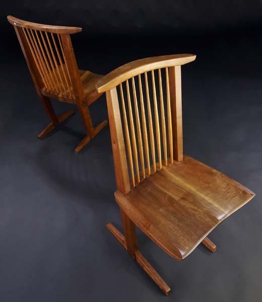 15: GEORGE NAKASHIMA Pair of walnut Conoid chairs with