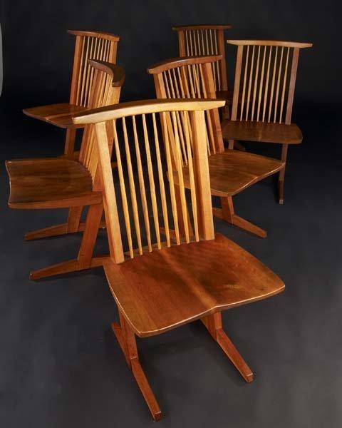 16: GEORGE NAKASHIMA Set of six walnut Conoid chairs wi