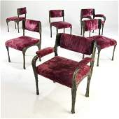 83: PAUL EVANS Set of six Sculpted Bronze dining chairs