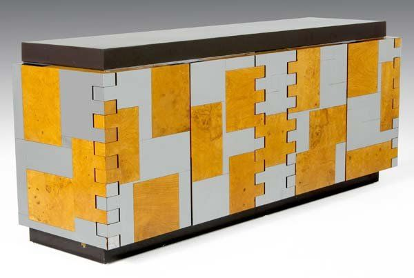 PAUL EVANS Brick-front credenza in polished chrome