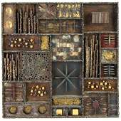 396: PAUL EVANS Sculpted Steel wall-hanging collage wit