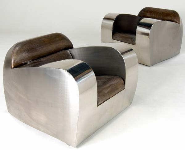 724A: JONATHAN SINGLETON Pair of polished and brushed s