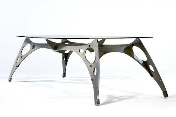 728: JONATHAN SINGLETON Bridge table in stainless steel
