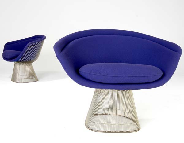 834: WARREN PLATNER / KNOLL Pair of armchairs upholster
