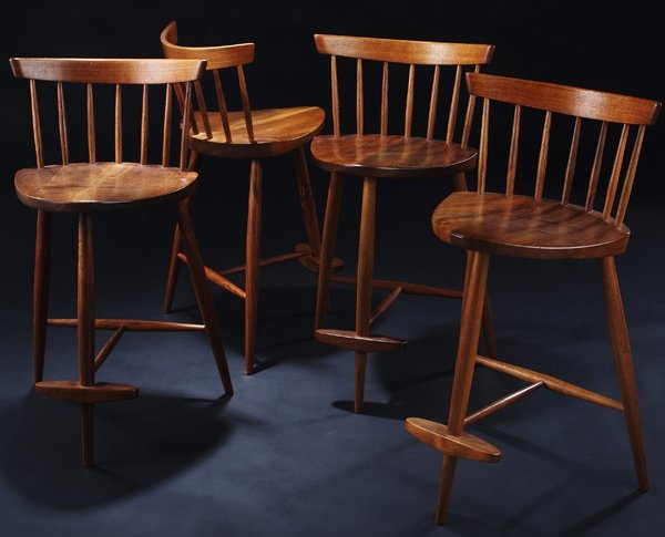 4: GEORGE NAKASHIMA Set of four High Mira walnut chairs