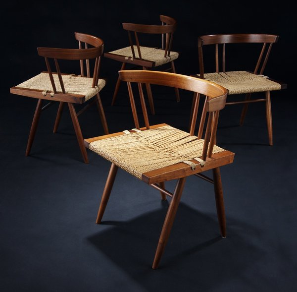 12: GEORGE NAKASHIMA Set of four walnut Grass-Seated ch