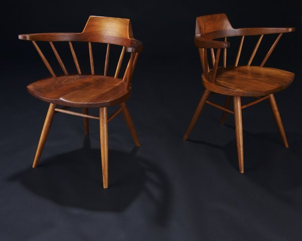 20: GEORGE NAKASHIMA Pair of walnut Arm chairs. (Proven