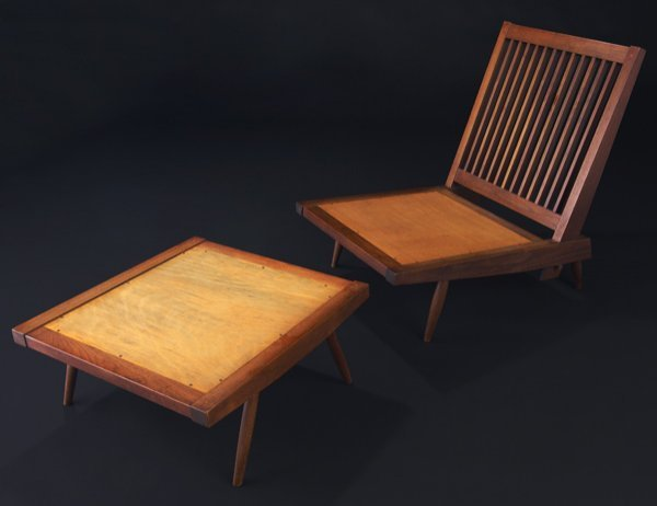 22: GEORGE NAKASHIMA Walnut Cushion chair and ottoman w