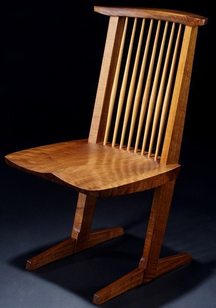 24: GEORGE NAKASHIMA Walnut Conoid chair with hickory s
