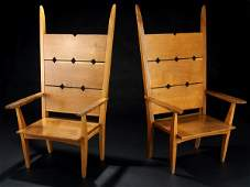 29A: GEORGE NAKASHIMA Pair of massive oak armchairs wit