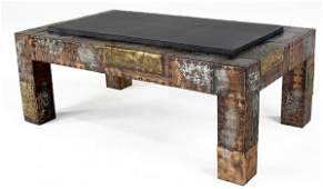 109 PAUL EVANS Coffee table covered in copper bronze