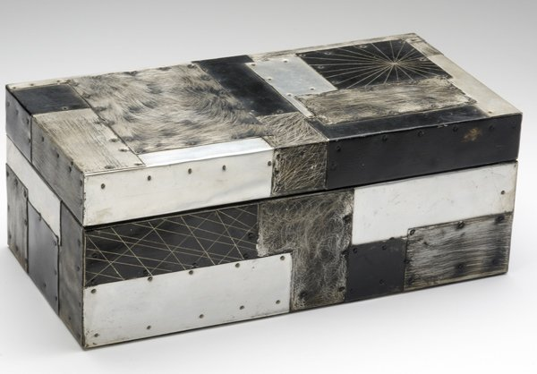 130: PAUL EVANS Argente patchwork aluminum box with ant