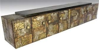 478 PAUL EVANS Monumental wallhanging sideboard in co
