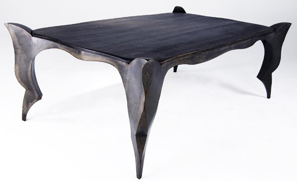 619: JONATHAN SINGLETON Dining table with cerused oak t