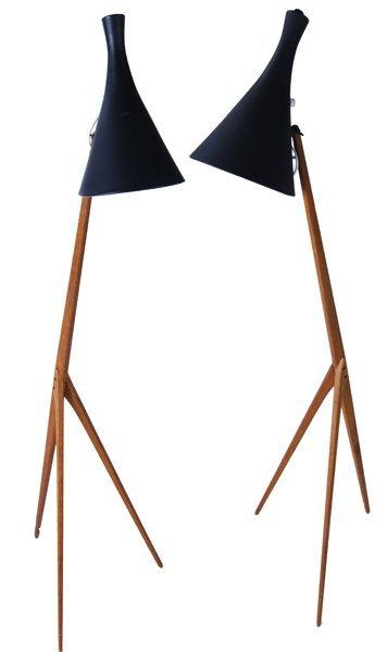 818: LUXUS (Sweden) Pair of teak tripod floor lamps wit