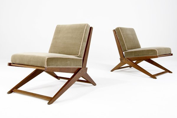 850: PIERRE JEANNERET Pair of Scissor chairs with celad