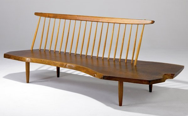 1: GEORGE NAKASHIMA Conoid Bench with Back in walnut, w