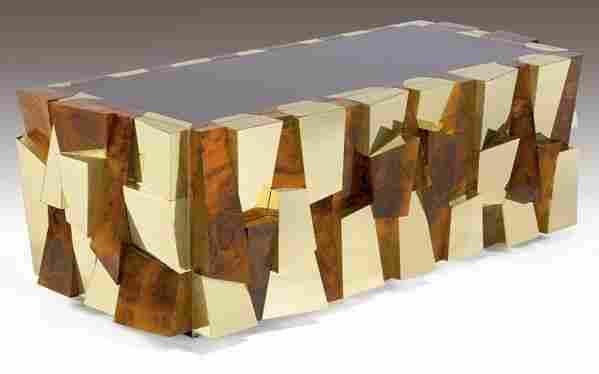 PAUL EVANS Cityscape desk in burlwood veneer and