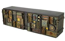 PAUL EVANS Wall-hanging Sculpture Front cabinet wi