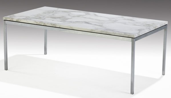165: KNOLL Coffee table with white marble top on steel