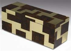 394 PAUL EVANS Cityscape brass and burl walnut trunk