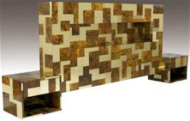 395 PAUL EVANS Cityscape brass and burl headboard