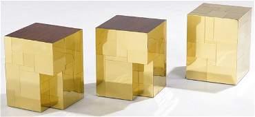 398 PAUL EVANS Set of 3 brass Cityscape side tables
