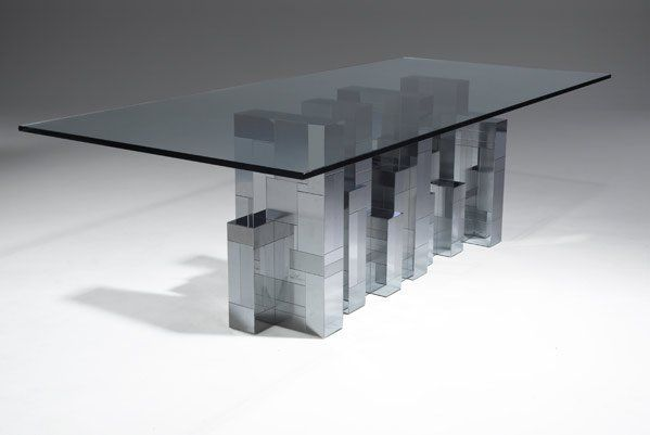 414: PAUL EVANS Cityscape dining table with glass top