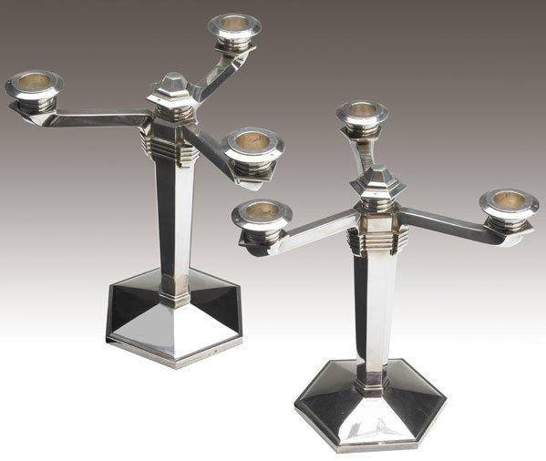 603: JEAN E. PUIFORCAT Pair of silver candelabra