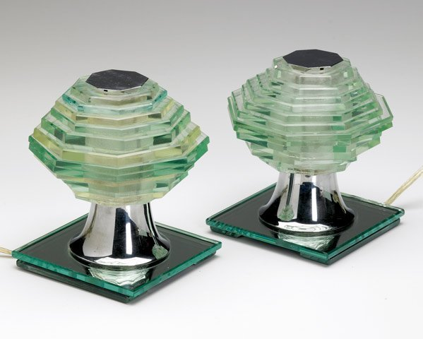 606: MAISON DESNY Pair of glass and metal table lamps