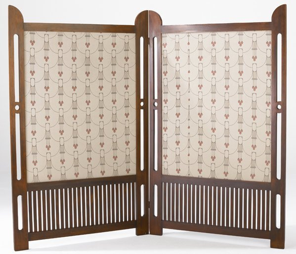 614: SECESSIONIST Two-panel room divider with fabric