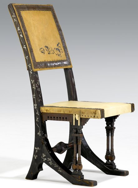 618: CARLO BUGATTI Carved and inlaid hall chair