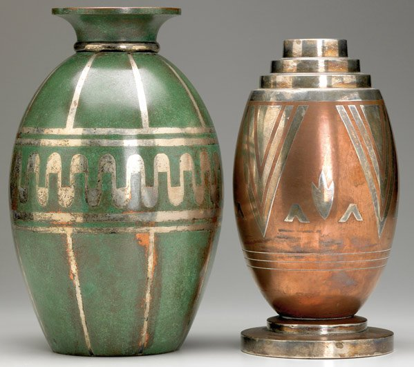 621: LUC LANEL / CHRISTOFLE Two patterened metal vases