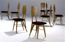702: MODERN Set of eight oak dining side chairs