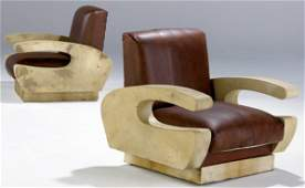 742: MID-CENTURY Pair of parchment-covered club chairs