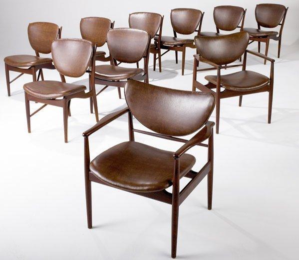 1039: FINN JUHL / NIELS VODDER Ten teak dining chairs