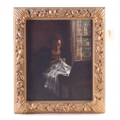 2: Gabriel Marie Biessy (French 1854-1935), woman sewin